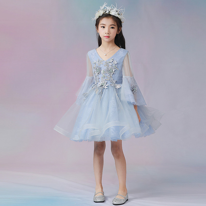 2018 Light Blue Lace Girls Wedding Princess Dress flower Girl Dresses Girls Prom Formal First Communion Gown for Baptism D84002A jd коллекция светло телесный 12 пар носков 15d две кости размер