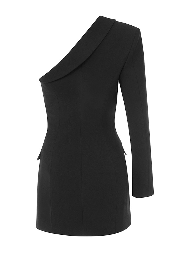 Winter Dress Women Fashion Sexy Black BCotton Dress One Single Long Sleeve Elegant Celebrity Mini Party Dress with Belt