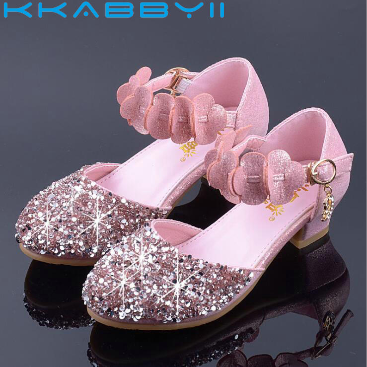 Princess Kids Leather Shoes For Girls Flower Casual Glitter Children High Heel Girls Shoes Butterfly Pink SilverPrincess Kids Leather Shoes For Girls Flower Casual Glitter Children High Heel Girls Shoes Butterfly Pink Silver