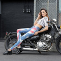 Fashion Women`s American Flag Printed Jeans High Waisted Slim Fit American and European Style Slim Fit USA Flag Denim Pants