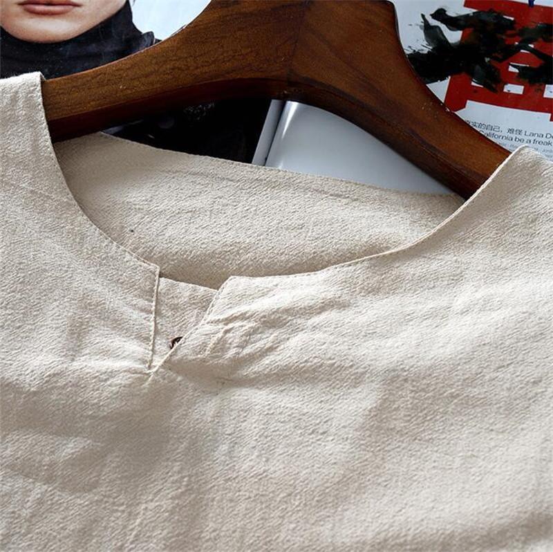 Tunique chinoise beige en lin et coton, détail du col