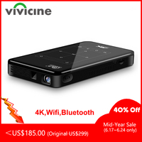 Vivicine 4 K мини проектор Android Bluetooth, аккумулятор 4000 мАч, поддержка Miracast Airplay портативный мобильный проектор видеопроектор