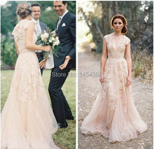 Vintage 2014 Lace Wedding Dresses Champagne V-Neck Appliques Ruffles Cap Sleeve Bridal Gowns W33