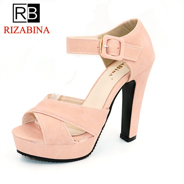 6e41ec188e5b RizaBina Peep Toe Ankle Strap Thick High Heel Sandals Platform Ladies Shoes  Women Brand Dress Footwear Sandal Mujer size 32-43
