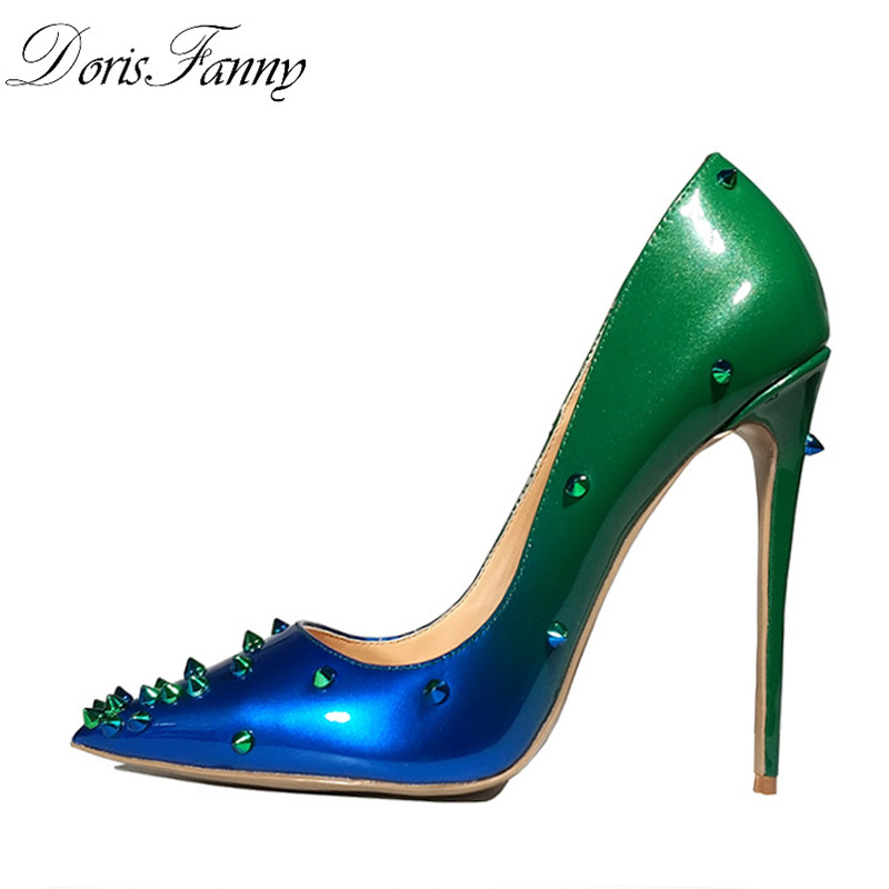 DorisFanny Patent Leather heels Shoes Pointed Toe Women Pumps Rivet Studded For Wedding Party Dress Stiletto Woman Size 35-45 hee grand sweet patent leather women oxfords shoes for spring pointed toe platform low heels pumps brogue shoes woman xwd6447
