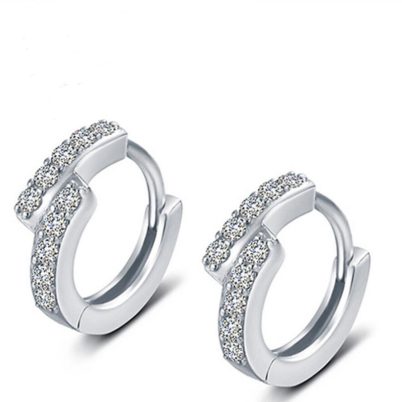 2015 New Good Quality 925 Sterling Silver Earrings For Women Crystal CZ Diamond Jewelry Wedding Vintage jump for woman E436