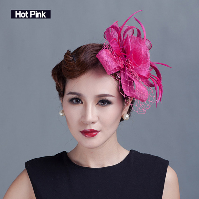 Women Feather Vail Fascinators Handmade Sinamay Fascinator with Veil Women  Hair Accessories Black Red Women Flower Fancy 021ea6a5215