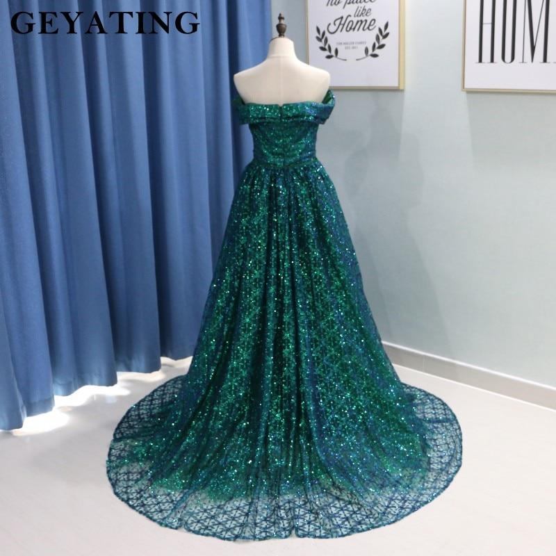 Saudi Arabic Dark Green Mermaid Evening Dress Long Detachable Train Prom Dresses 2019 Dubai Turkish Off Shoulder Evening Gowns