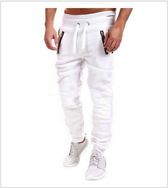 Corredores Del Motorista de la moda Slim Fit Flaco Pantalón Harem Hombres Swag Hip Hop Ropa de calle Ropa de Gris Negro