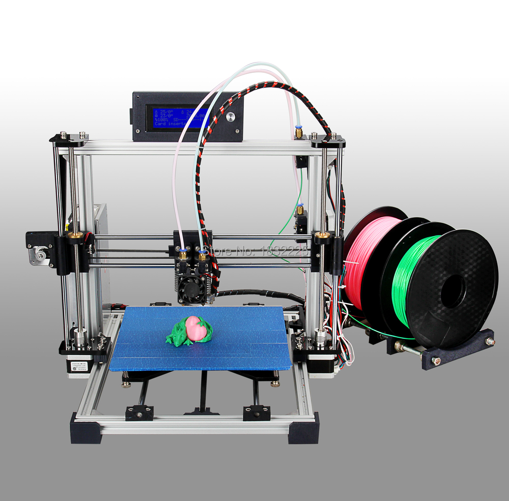 Double Nozzles Dual Extruder 3d printer reprap prusau i3 kit impressora 3d with LCD with