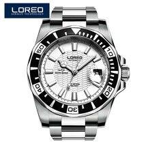 LOREO męskie zegarki Top luksusowa marka nurkowanie serii wodoodporny 200M ze stali nierdzewnej zegarki człowiek mewa zegarek mechaniczny