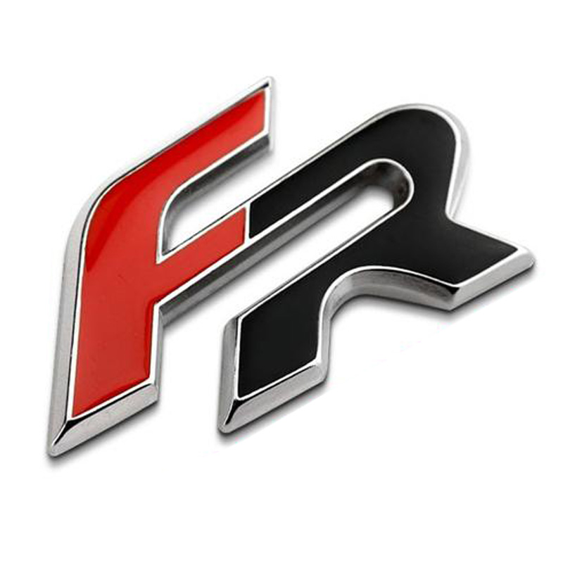 Black Red Full Metal FR Car Tail Stickers Emblem