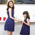 Vestido de madre E Hija Familia Equipada de Verano 2016 Sin Mangas de Impresión Vestidos de Lino Vestido de Madre E Hija