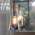 Nordic Vintage Industrial Edison Glass Wine Pendant Light Hanging Lamp Lampara Colgante Lighting Pendant Luminaire Suspendu Bar