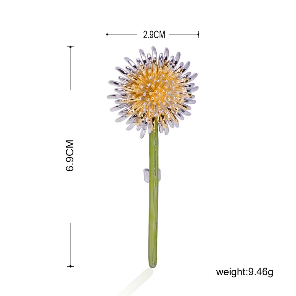 Blucome Enamel Green Dandelion Flower Brooches For Women Men 39 s Weddings Plants Brooch Lapel Pins Gifts Copper Suit Collar Clip in Brooches from Jewelry amp Accessories