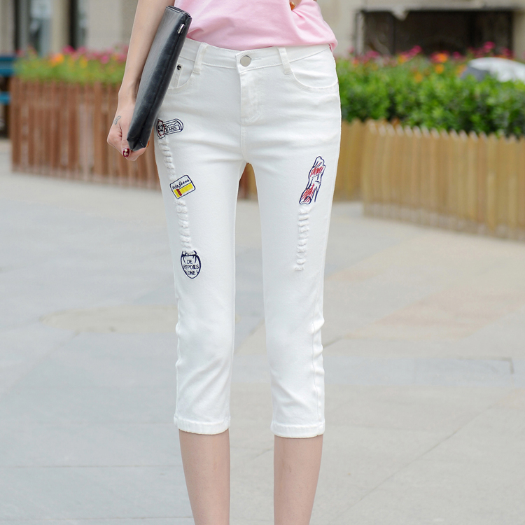 Fashion Summer Caprise Distressed White Stretch Woman's embroidered jeans PL716
