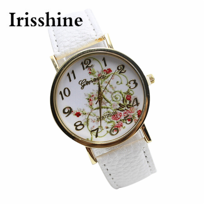 Irisshine Women watches lady flower Leather Band Analog Quartz Vogue Wrist Watch woman dress gift #15 perfect gift love gift women watches heart pattern flower leather band clock quartz analog wrist watch june06 p40