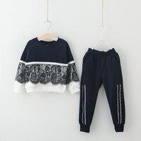 Free Shippng Children Clothing Set 2017 Autumn Winter Girls Clothes T Shirt Pants 2PCS Kids Sport