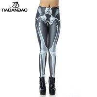 2014 Spring New Custom Design High Waist Black Leg Bone Skeleton Printing Woman Footless Skinny Cartoon