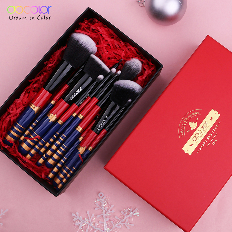 купить Docolor 12PCS Make up Brushes Set Christmas Gift Brushes for Makeup Nice Package Synthetic Hair Powder Foundation Eye Brushes недорого