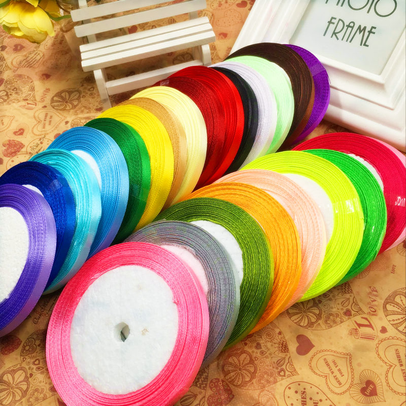 (25 yards/volume) 6 mm single silk ribbon/DIY wedding gift packaging Christmas decorations accessories arts and crafts