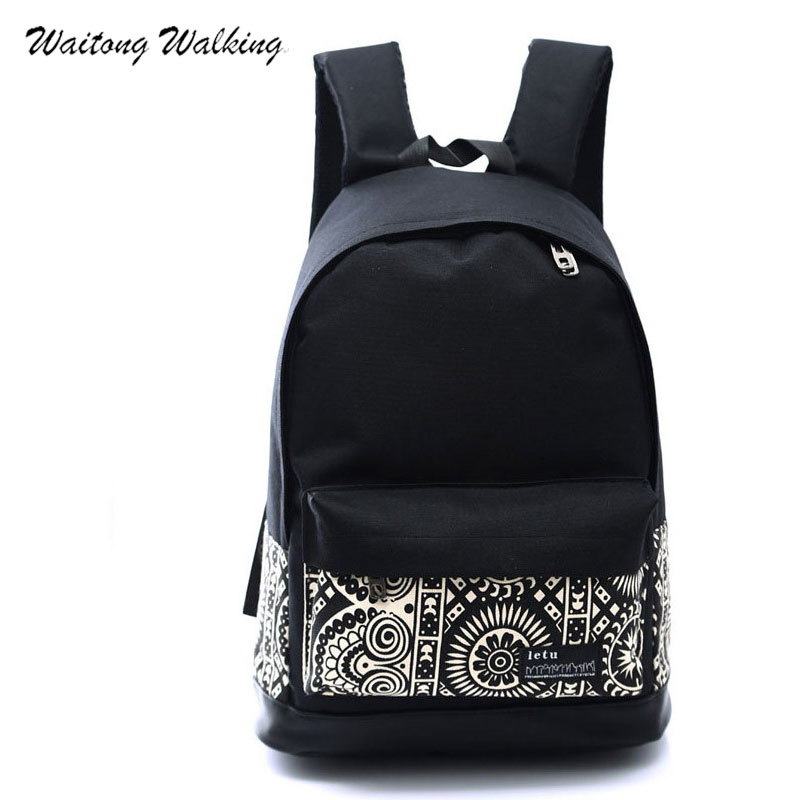 Women Backpack Canvas Fashion 2017 Printing School Bags For Teenage Girls Waterproof Mini Laptop Travel Shoulder Bagpack 441 newest hmong embroidered women backpack black canvas ethnic casual travel backpack fashion vintage laptop bags