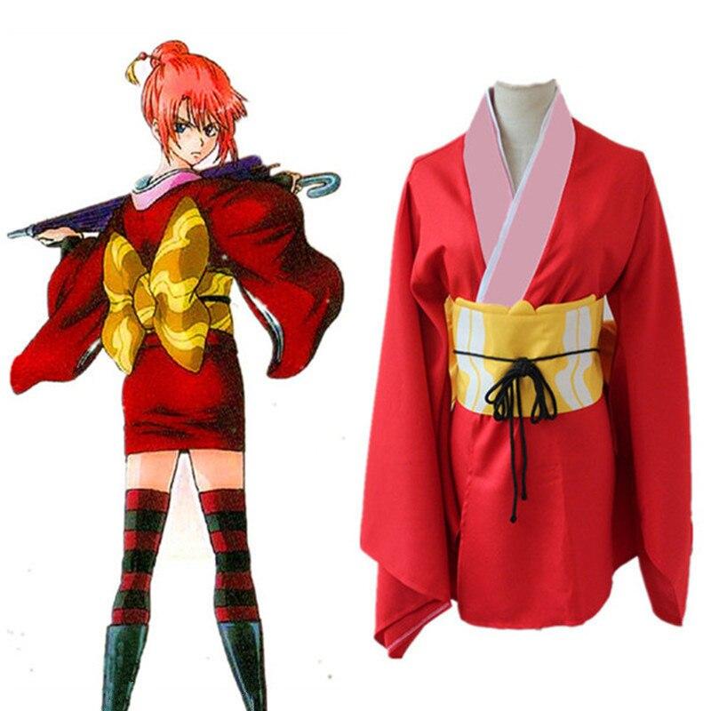 Токио аниме Gintama Кагура косплэй костюм серебро soul Кагура красное платье Японии традиционное кимоно