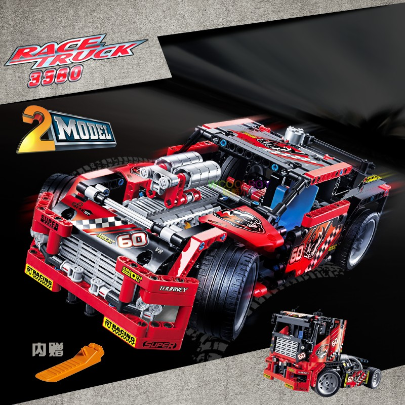 Decool 3354/3360 Technic Race Truck Car 2 In 1 Transformable Model Building Block Sets DIY Toys compatiable with lego model toys