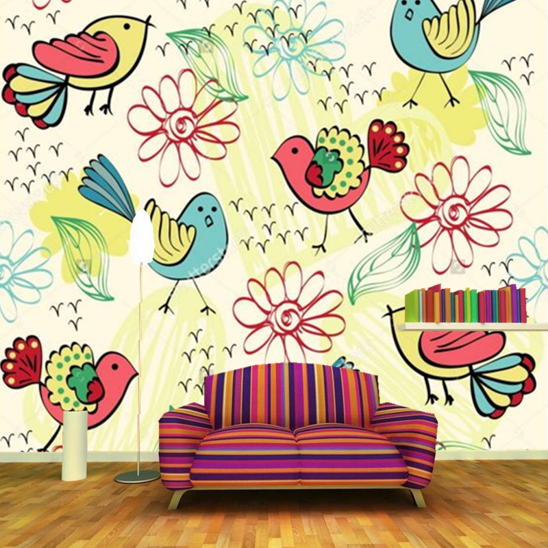 Lovely cartoon mural ,various colors flowers and birds wallpaper,living room sofa TV wall kids room 3d wallpaper papel de parede 3d mural papel de parede purple romantic flower mural restaurant living room study sofa tv wall bedroom 3d purple wallpaper