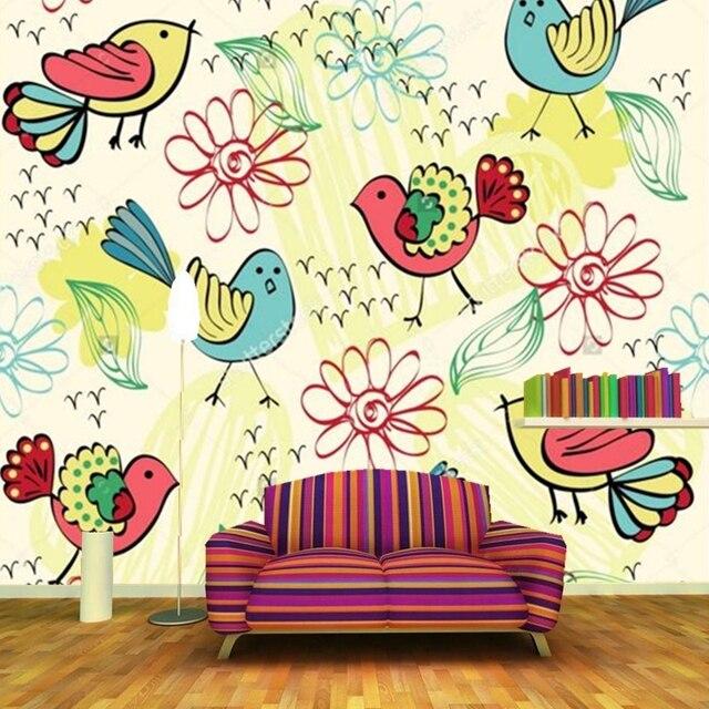Schone Cartoon Wand Verschiedene Farben Blumen Und Vogel Wallpaper Wohnzimmer Sofa TV Kinderzimmer