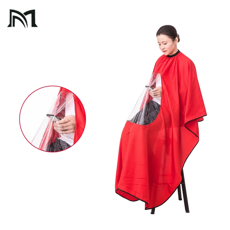 4Pcs  Hairdresser Cape Gown Transparent Cloth New Waterproof View Window Hair Cut Hairdressing Barbers Can play cell phon