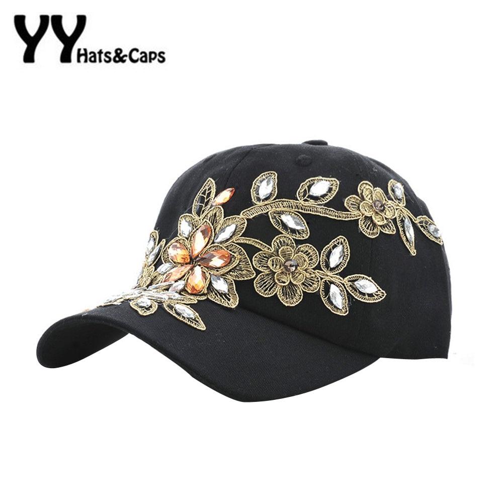 fc33bdff2cb Good Quality New Fashion Women Diamond Flower Baseball Cap Letter  Rhinestones Snapback Cap Summer Style Lady Jeans Hats YY60062