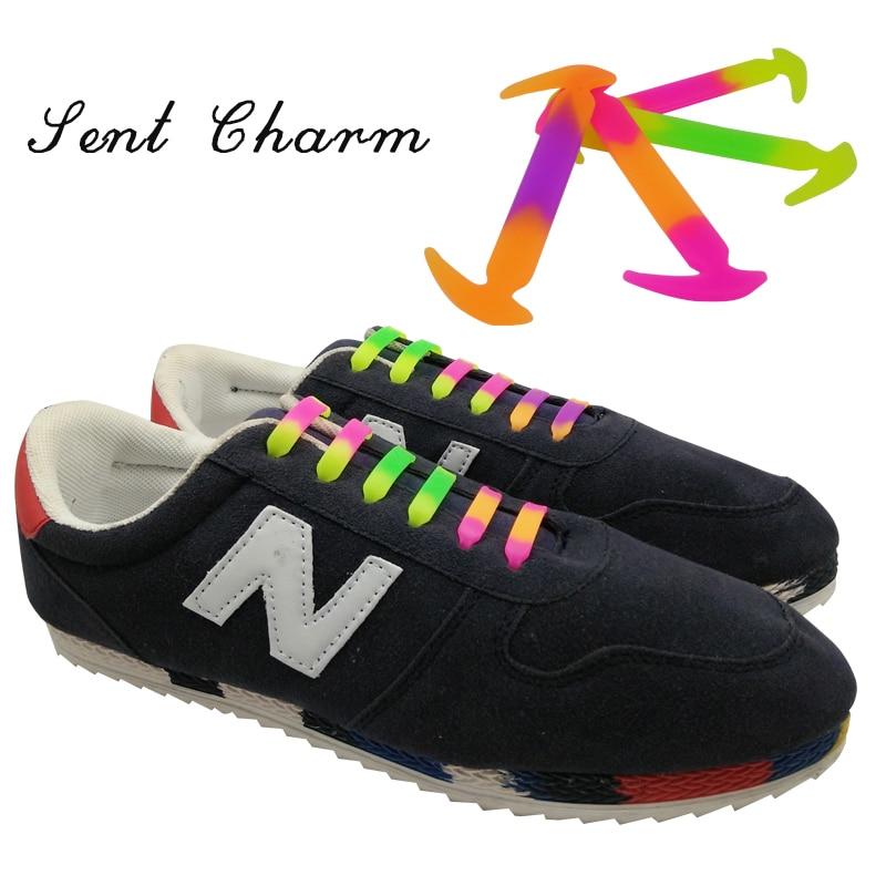 SENTCHARM 12Pc/Set Fashion Athletic Running No Tie Silicone Shoelaces Elastic Shoe Lace Fit Strap 4 Colors oem 12pc no