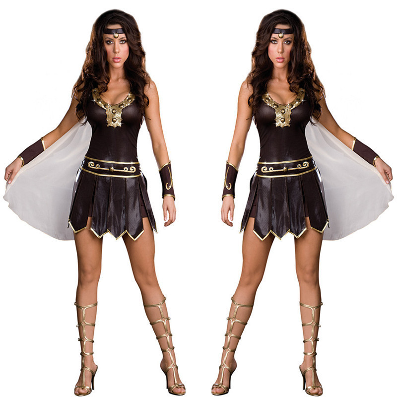Antique mythologie grecque femmes guerrier Halloween Costume marron Faux cuir femme soldat Cosplay uniformes gladiateur Costume