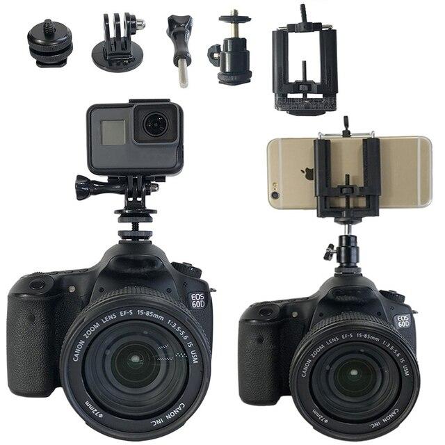 1/4 pouces Hot chaussure montage trépied monture adaptateur pont pour Canon Nikon SONY SLR pour GoPro SJCAM Xiaomi Yi Action caméra accessoires