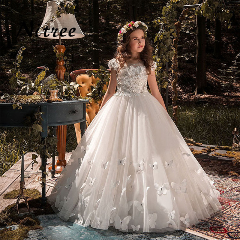 Wedding Flower Girl: Butterfly New Kids Pageant Evening Gowns 2018 Lace Ball