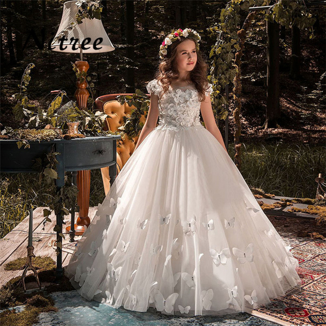 Butterfly New Kids Pageant Evening Gowns 2018 Lace Ball Gown Flower ...