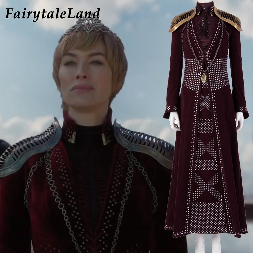 Game Of Thrones Season 8 Episode 4 Cersei Lannister costume Halloween Costumes sequin Outfit Cosplay Cersei Dress Shoulder Armor image
