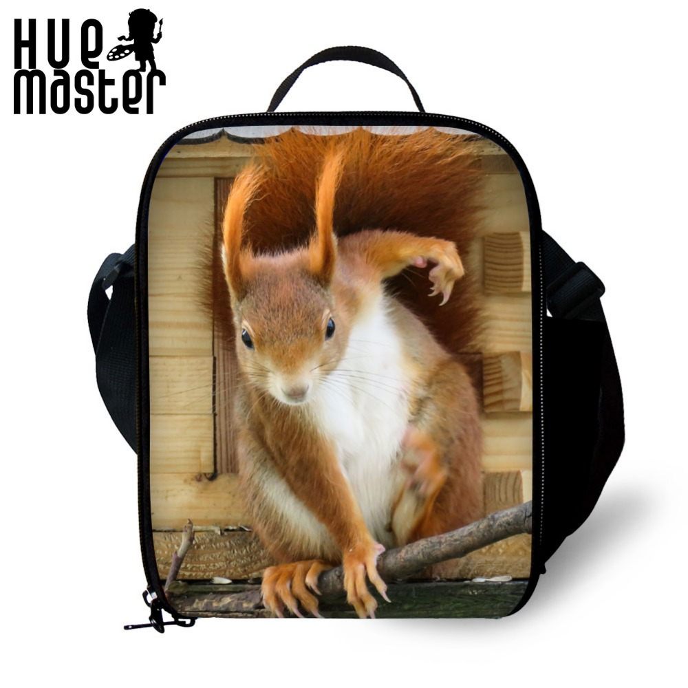 HUE MASTER Monkey squirrel animal Lunch bags for Kids Insulated Picnic Food Lunch Box School food Bags apply 1-2 Bolsa Termica