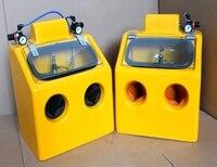 Большое пространство желтый наживается Пескоструйный Аппарат абразивоструйная шкаф 220 В с регулирования давления значение