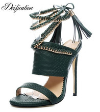 Deification Handmade Ankle Strap Women High Heels Shoes Gold Chains Slingback Women Pumps Lace-Up Fringe Women Gladiator Sandals black rope women white slingback shoes lace up ladies strap sandals female wedge ankle espadrilles pumps tie closed toe designer