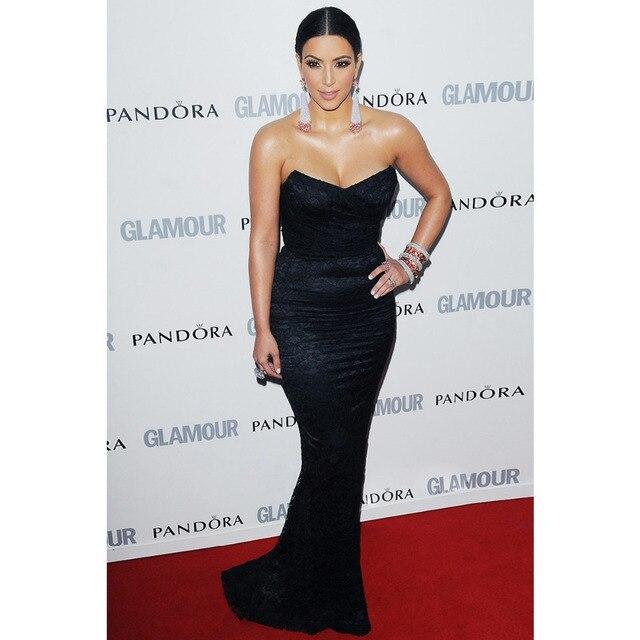 2015 Super Star V-neck Beyonce Red Carpet Celebrity Dresses Long Black Lace  Evening Dresses selena gomez 623414637884