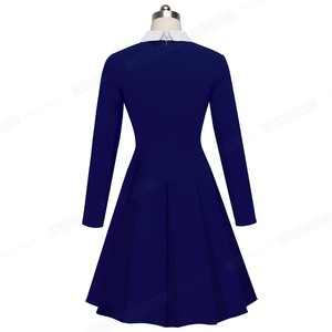 Image 4 - Nice forever Vintage Classic Turn down Neck Elegant Ladylike Charming Solid Full Length Sleeve Ball Gown Formal Woman Dress A016