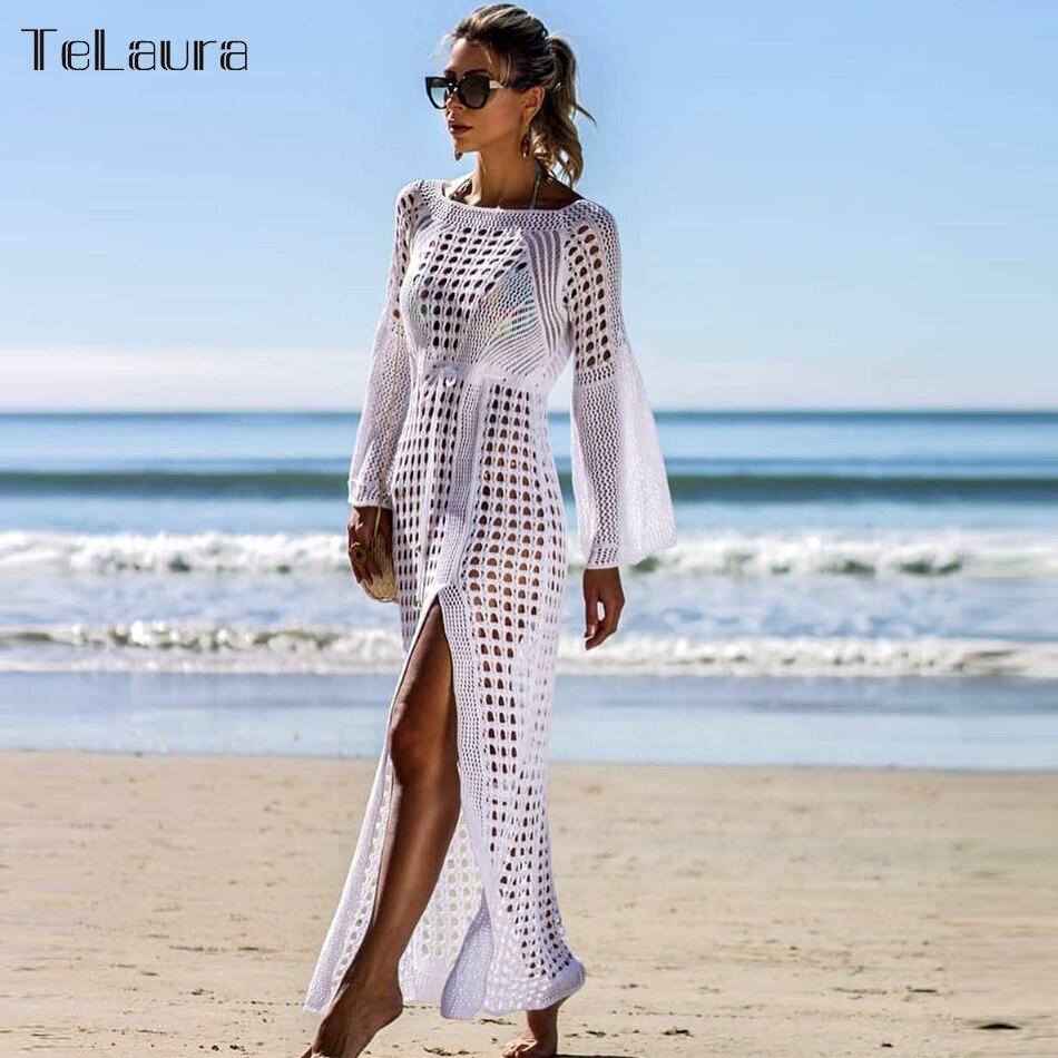 Beach-Dress Cover-Up See-Through Summer Swimsuit Women Bikini Crochet Sexy New Biquini
