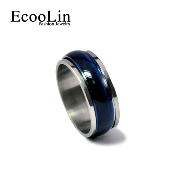 2017 New Design Blue Punk Opals Enamel Stainless Steel Ring Vintage Style For Women Men Fashion EcooLin Jewelry Lots LR221