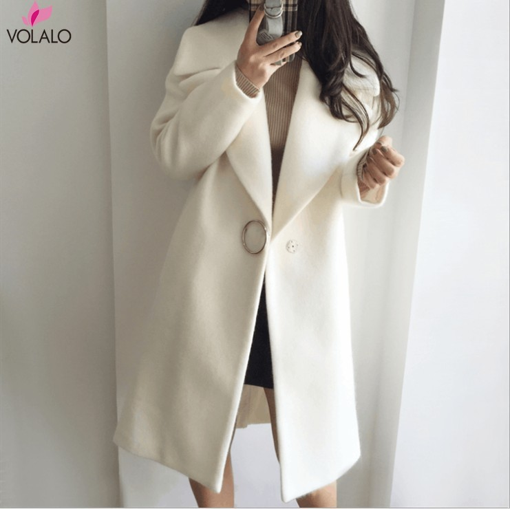 2019 Spring Autumn Winter Woman Solid Plus Size Fashion Woollen Overcoat Long Sleeve Fashion Oversize Outwear Jacket And Coats