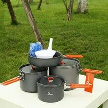 Vente chaude Feu D'érable Feast-5 Couverts Ensemble 4-5 Personne Camping Pot Ensemble En Plein Air Équipe Randonnée Pique-Nique Cuisson Ustensiles de Cuisine ensembles 1034g
