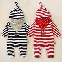 3 шт. новорожденный мальчик девочка малыша Cap Hat + Bibs + ползунки боди одежда нижнее ребенок полоса хлопка комплект одежды