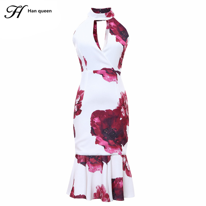 H Han Queen Womens Sexy Cut Out Elegant Floral Print Sleeveless Casual Evening Party Bodycon Mermaid Dress