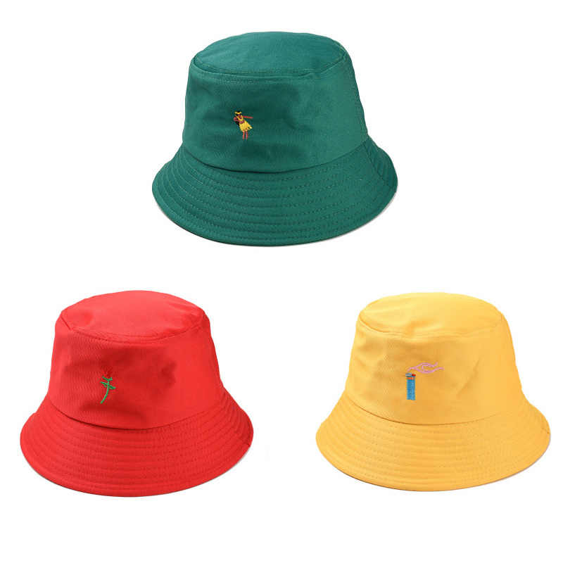 2019 Creative Embroidery Bucket Hat Unisex Foldable Rose Girl Cap Hip Hop Gorros Men Summer Caps Panama Fishing Bucket Hat